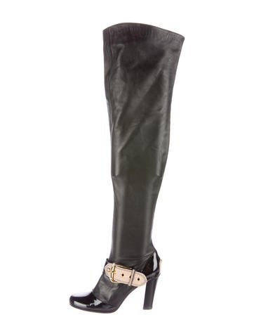 Leather Thigh-High Boots