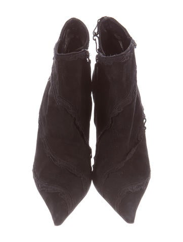 Lace-Trimmed Suede Booties
