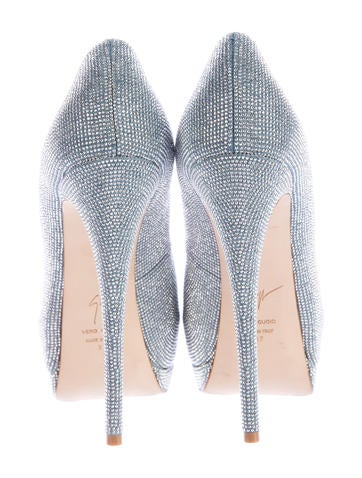 Crystal-Embellished Platform Pumps