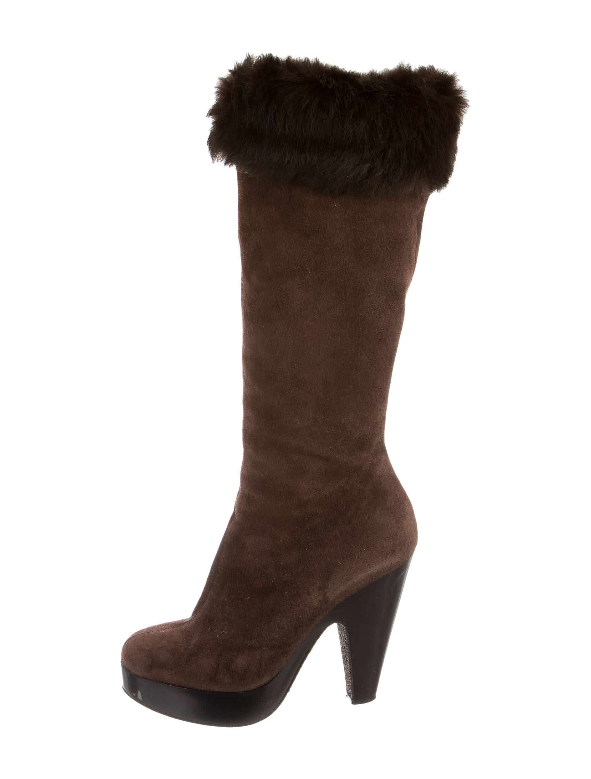 giuseppe zanotti fur trimmed suede boots shoes