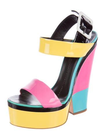 Colorblock Platform Sandals