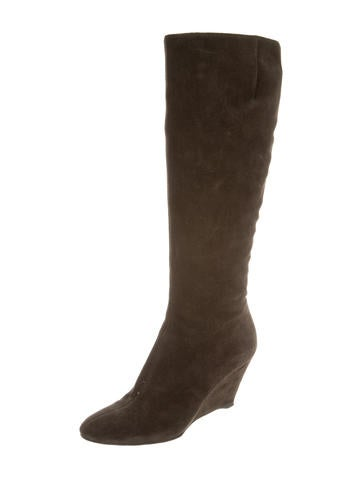 giuseppe zanotti suede knee high wedge boots shoes