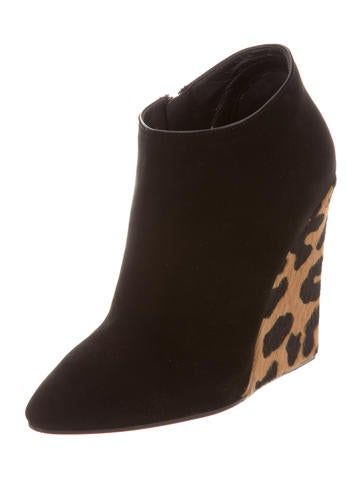 Leopard Wedge Ankle Boots w/ Tags