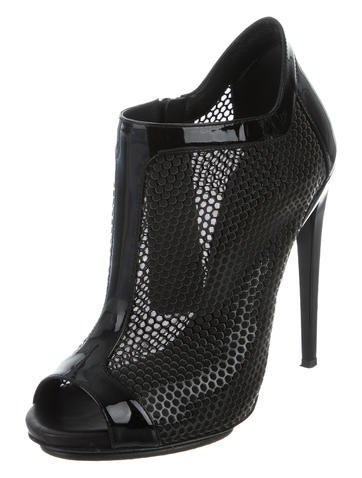 Peep-Toe Mesh Booties