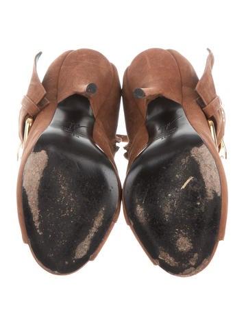Buckle-Embellished Slingback Booties