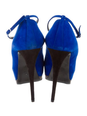 Peep-Toe Suede Pumps