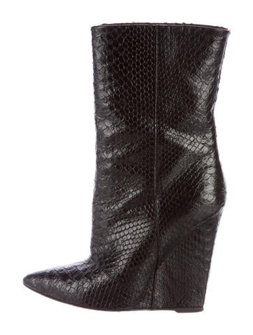 Snakeskin Wedge Boots