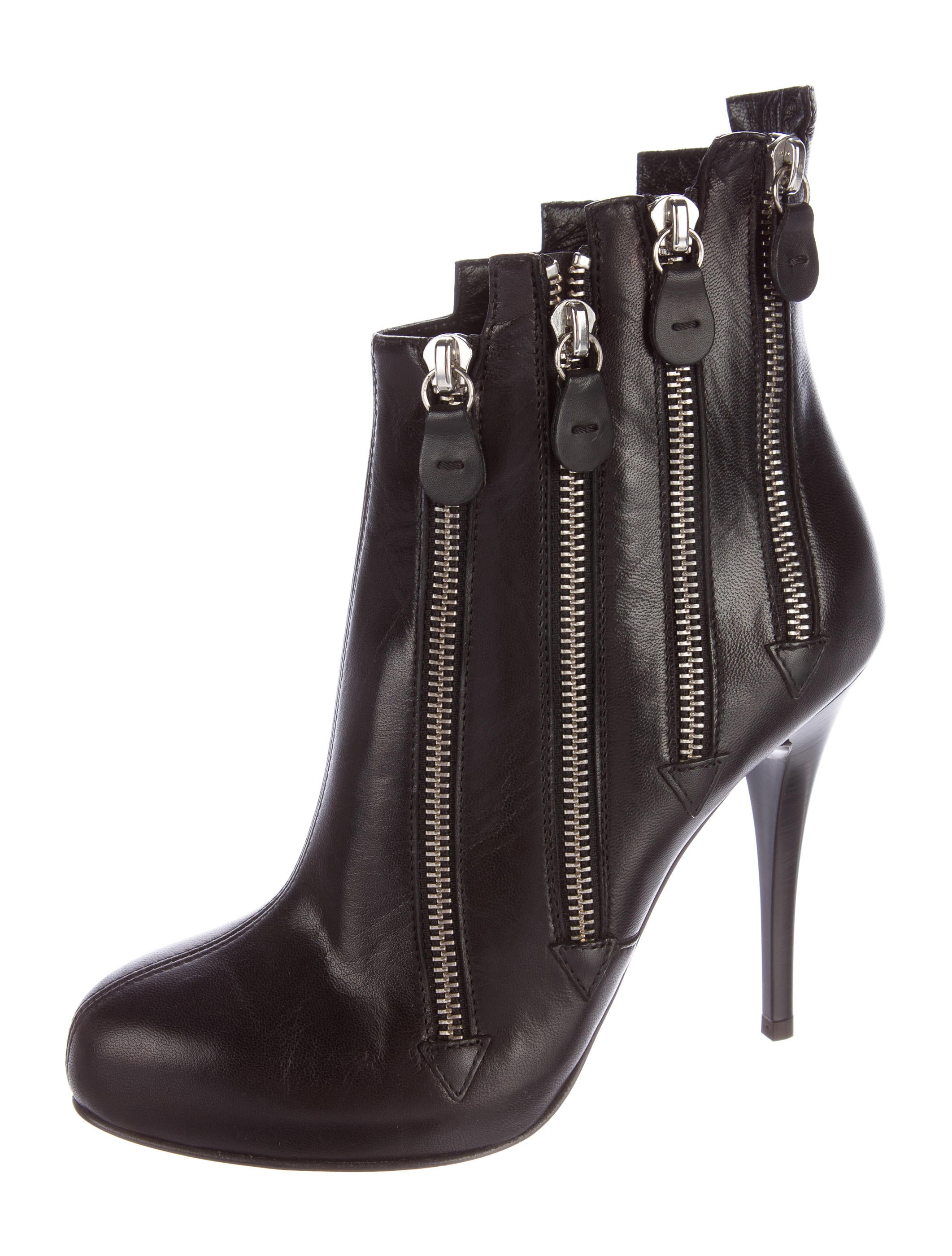 giuseppe zanotti leather zip accented boots shoes