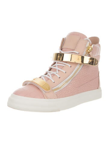 Embossed Leather High-Top Sneakers