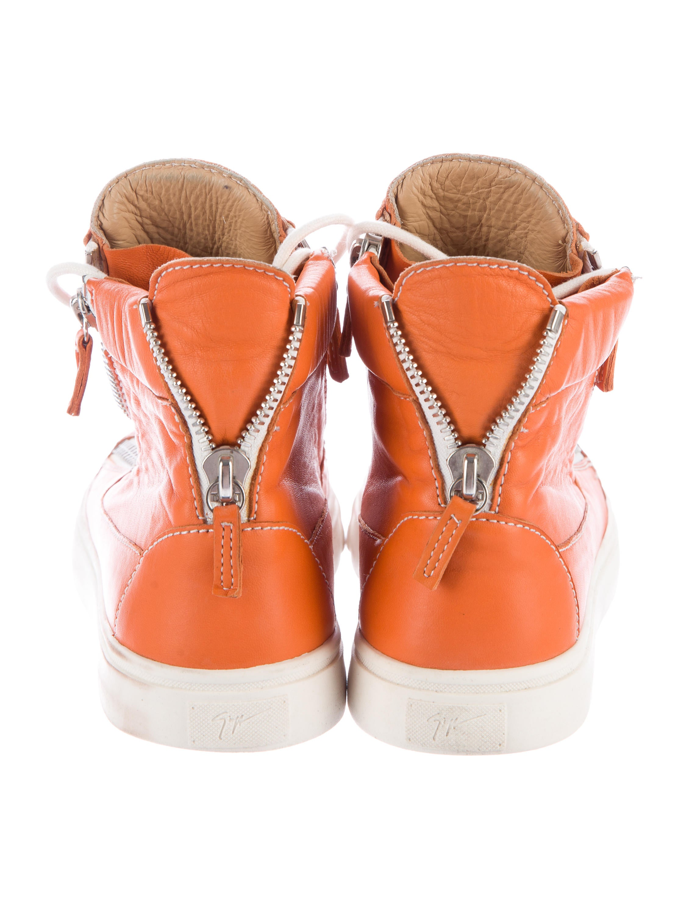 Giuseppe Zanotti Leather High Top Sneakers Shoes  : GIU361834enlarged from www.therealreal.com size 2257 x 2979 jpeg 461kB