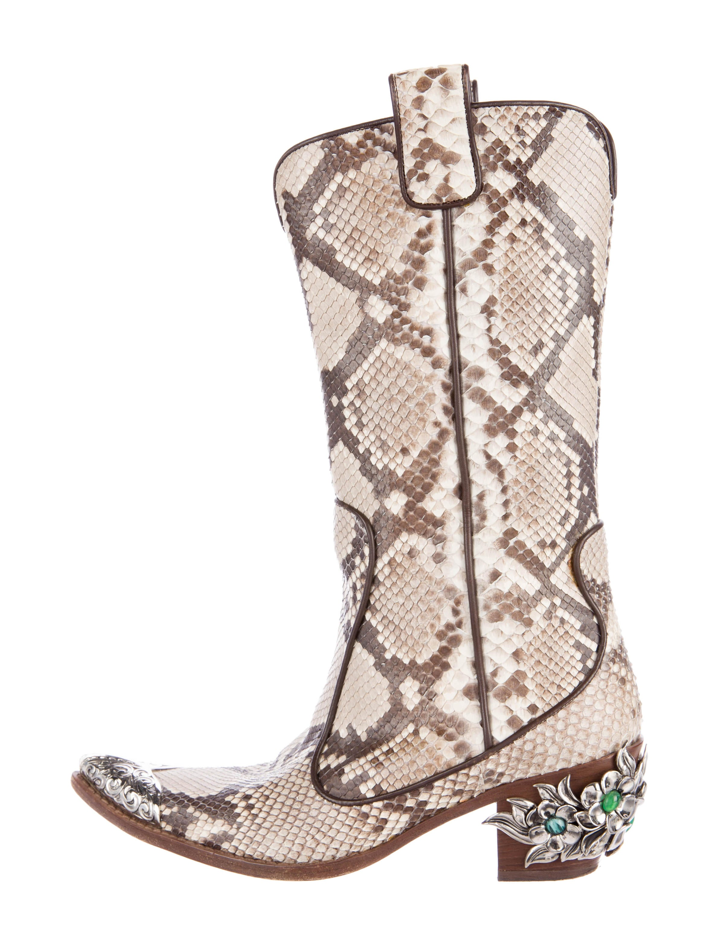 Giuseppe Zanotti Leather Embossed Cowboy Boots Shoes