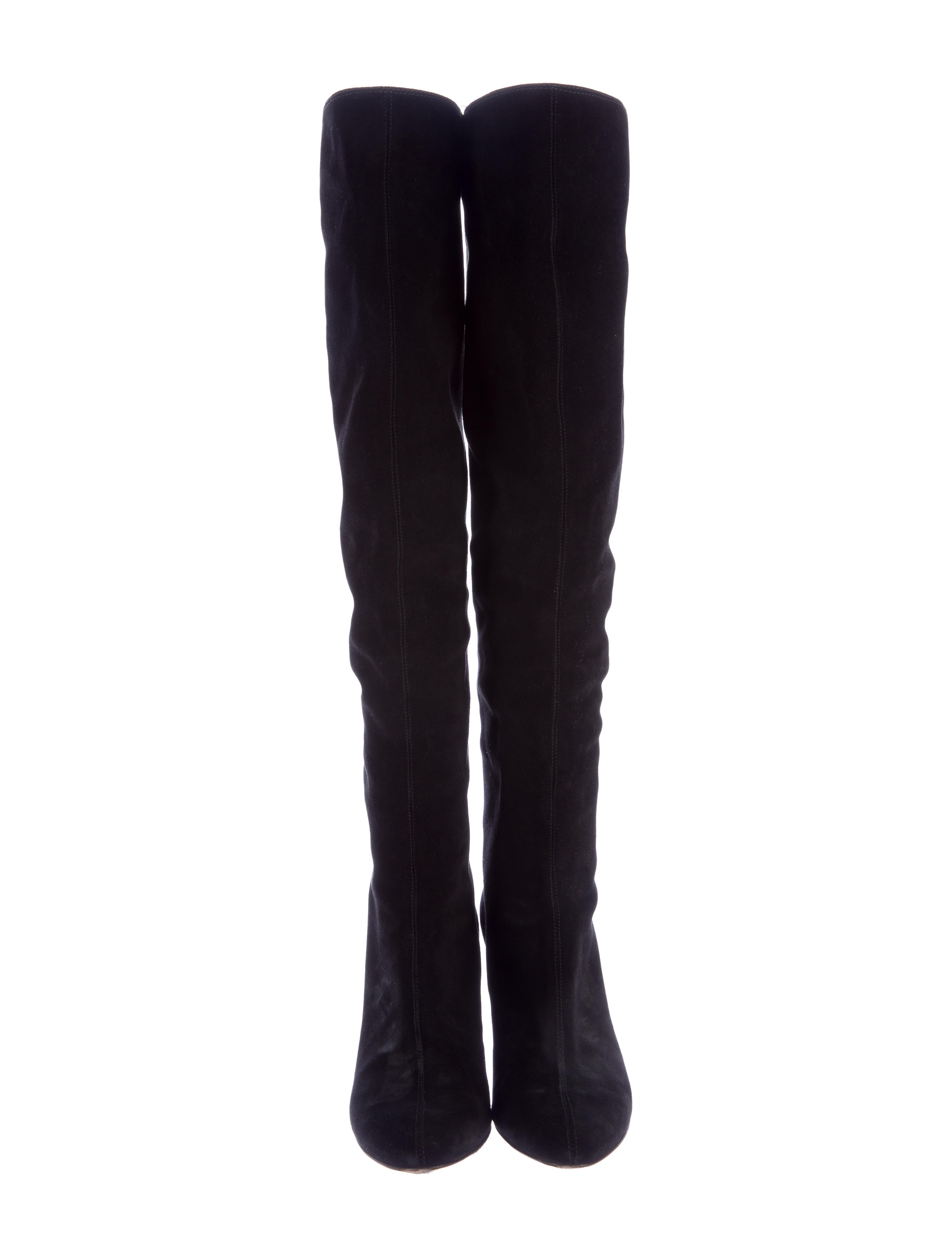 giuseppe zanotti suede wedge the knee boots shoes