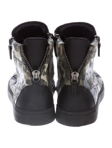 giuseppe zanotti coated leather sneakers shoes