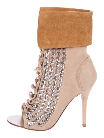 Giuseppe Zanotti Embellished Lace-Up Ankle Boots None