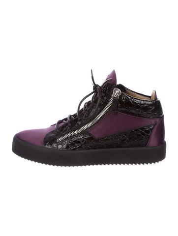 Giuseppe Zanotti Crocodile-Trimmed Satin Sneakers None