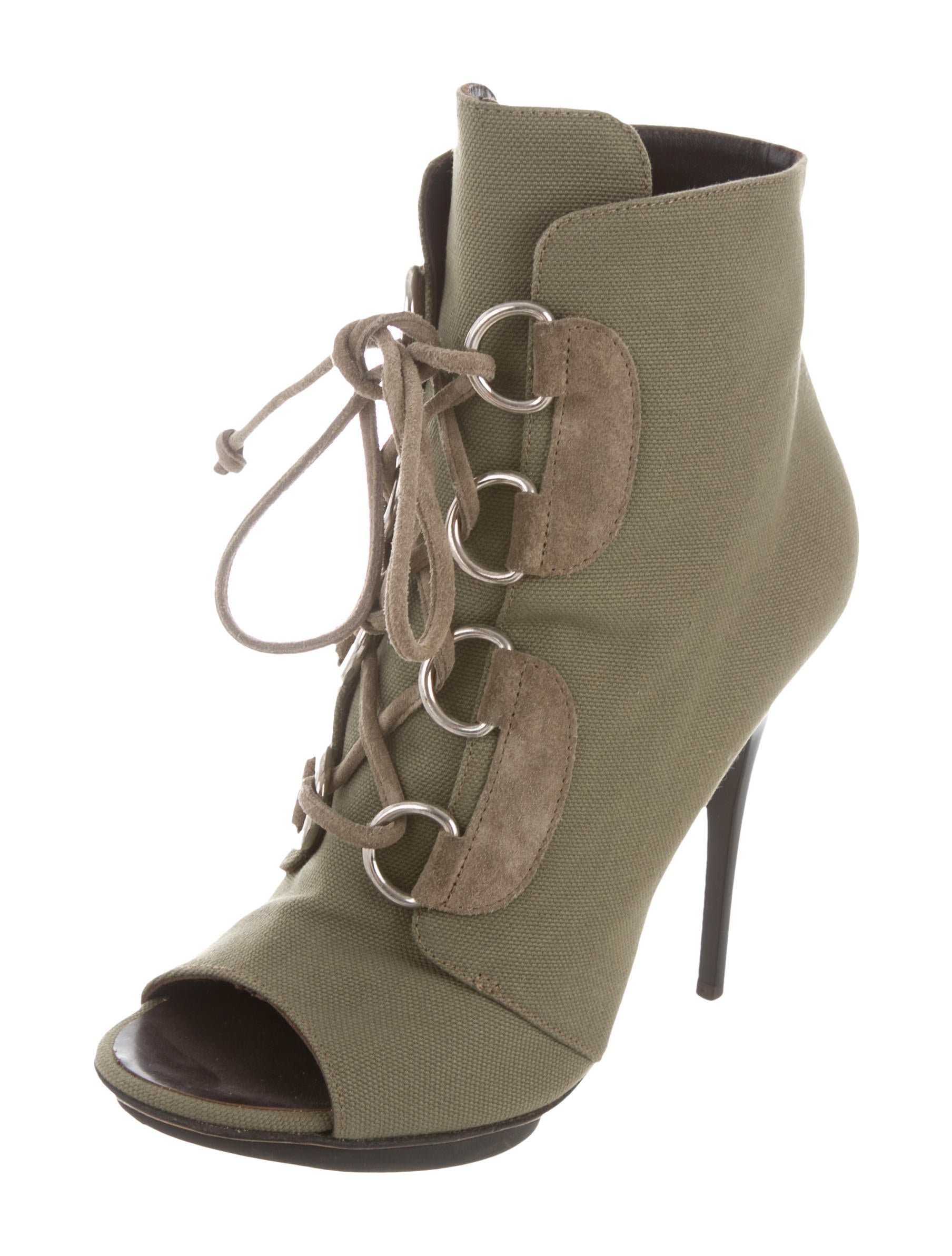 Giuseppe Zanotti Canvas Peep-Toe Booties sale classic sneakernews cheap price discount with paypal siDEWayG