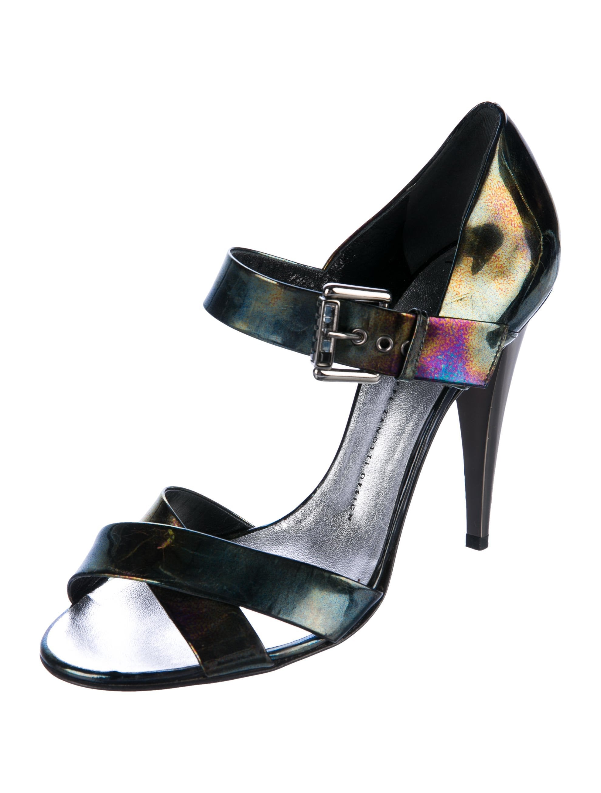 Giuseppe Zanotti Oil Slick Patent Leather Sandals best place cheap price 2014 for sale clearance great deals best sale for sale LbLqILV