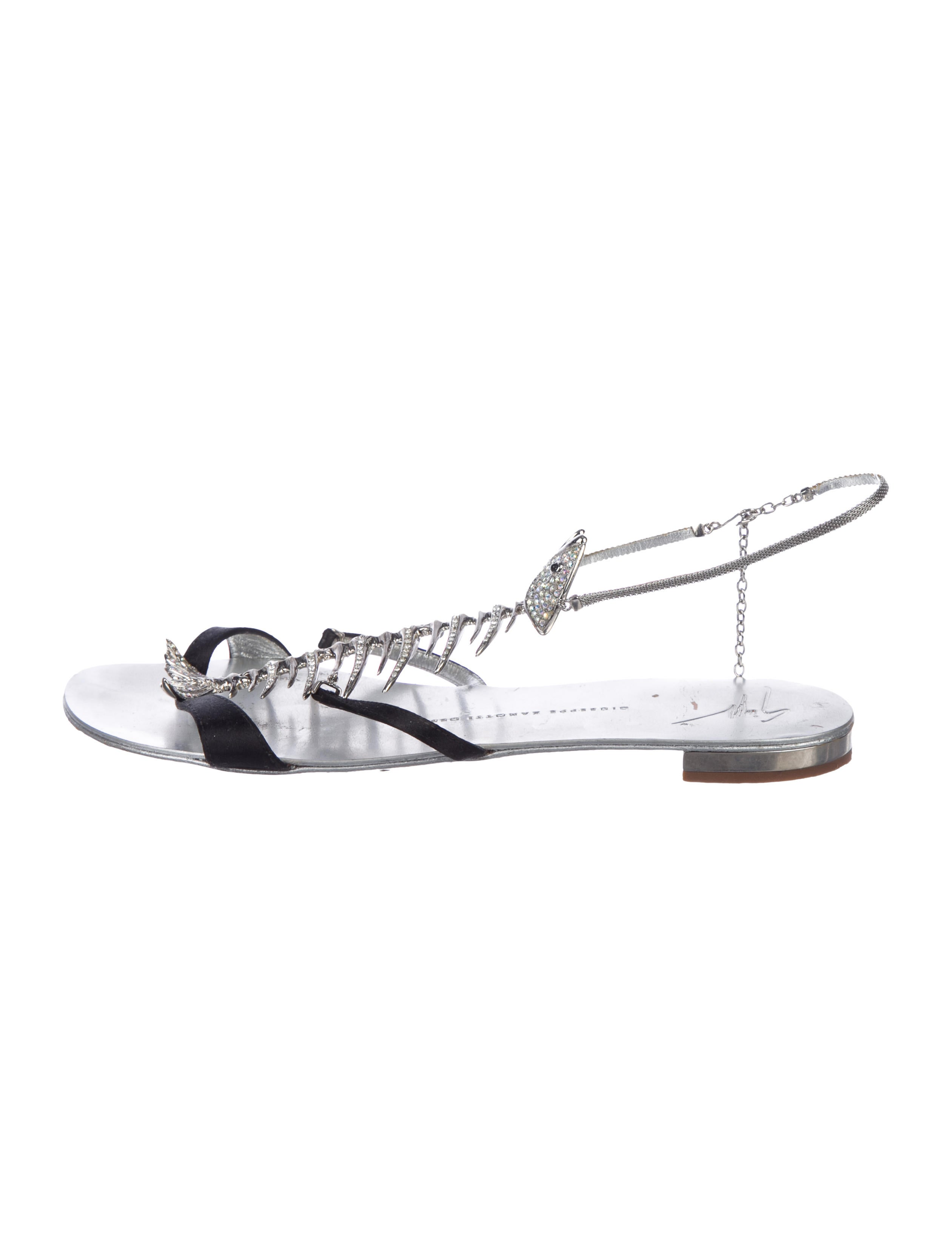 341a11c7a89b0 Giuseppe Zanotti Satin Fish Bone Sandals - Shoes - GIU48090 | The ...