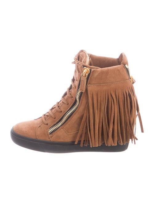 Giuseppe Zanotti Suede Wedge Sneakers Brown