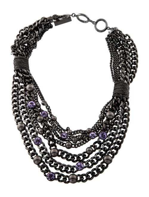 Givenchy Crystal & Faux Pearl Multistrand Necklace