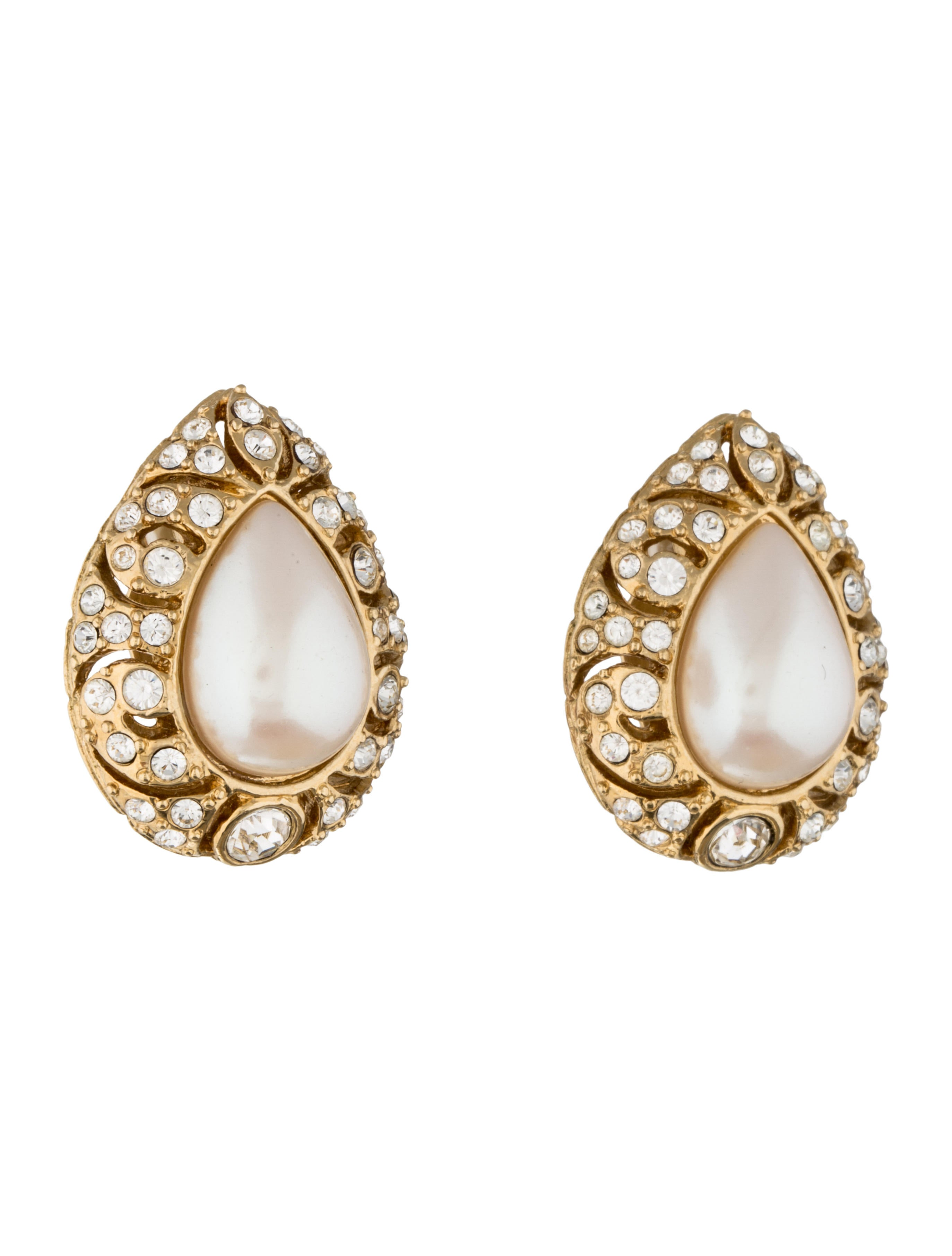 givenchy crystal faux pearl clip on earrings earrings. Black Bedroom Furniture Sets. Home Design Ideas