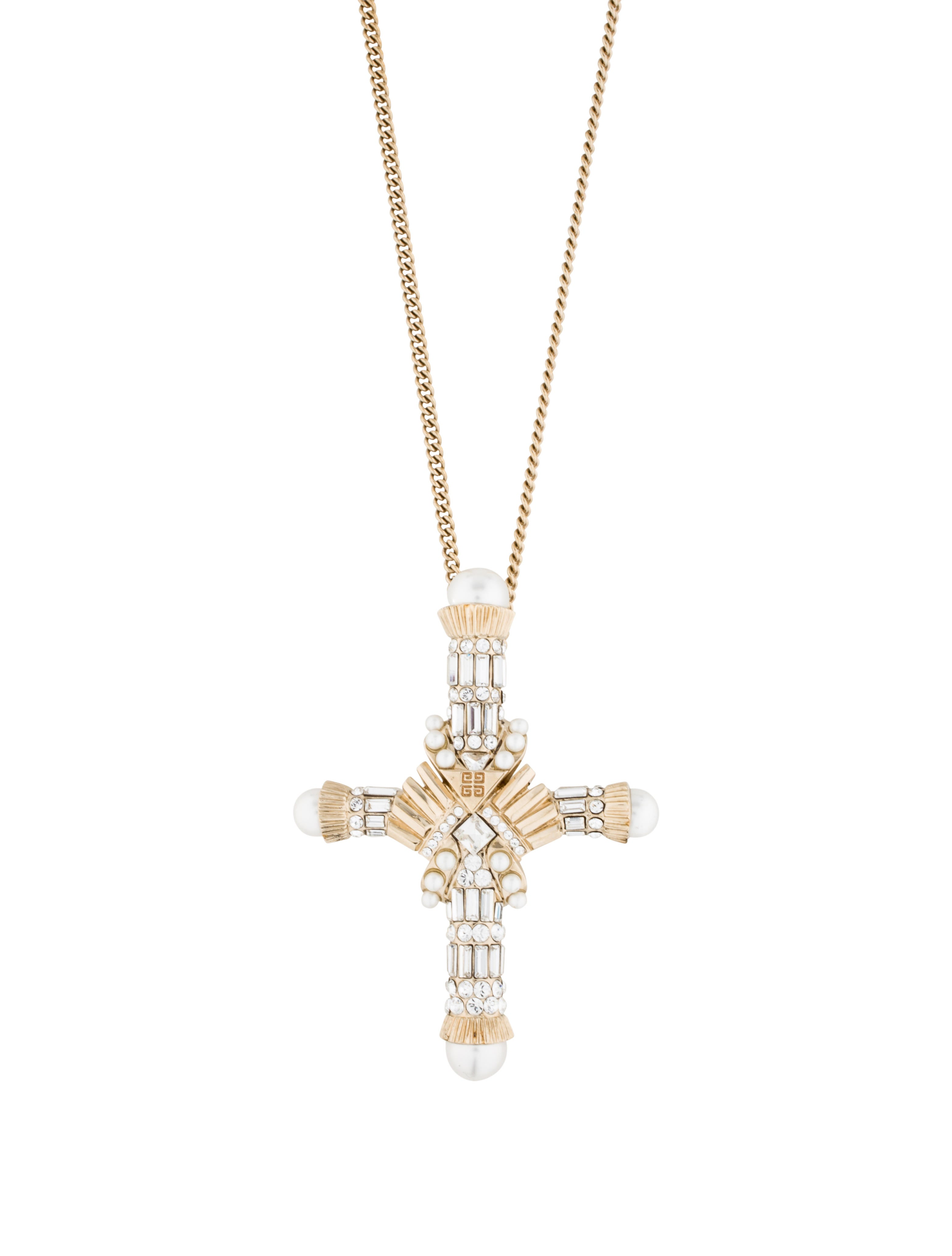 givenchy embellished cross pendant necklace necklaces