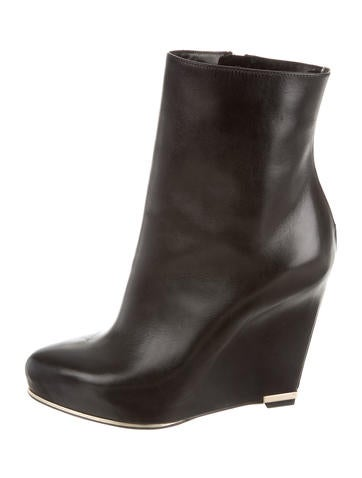 Leather Wedge Ankle Boots
