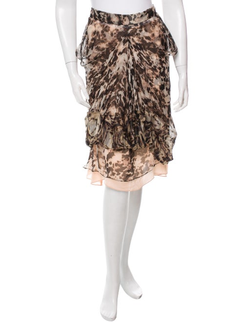 Givenchy Leopard Print Silk Skirt w/ Tags Tan