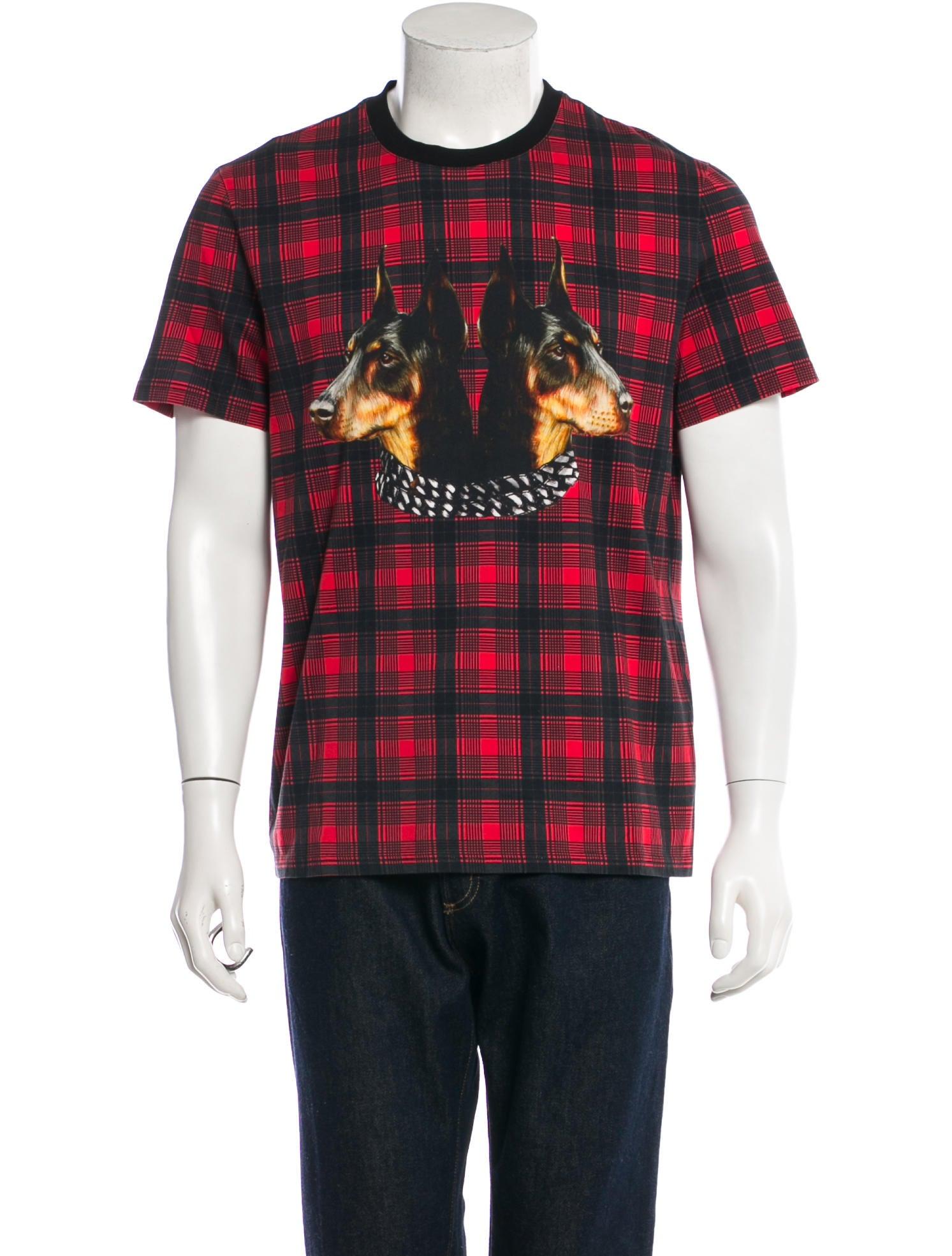 368ce8eca9e0 Givenchy Plaid Doberman Print T-Shirt - Clothing - GIV29168