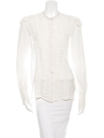 Givenchy Embellished Silk Button-Up Top None