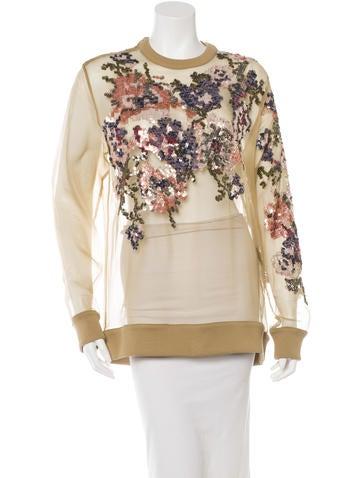 Givenchy Silk-Organza Sequin Sweatshirt