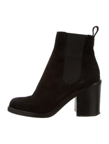 Suede Square-Toe Ankle Boots