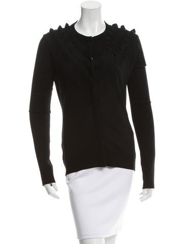 Givenchy Ruffle-Accented Wool Cardigan None