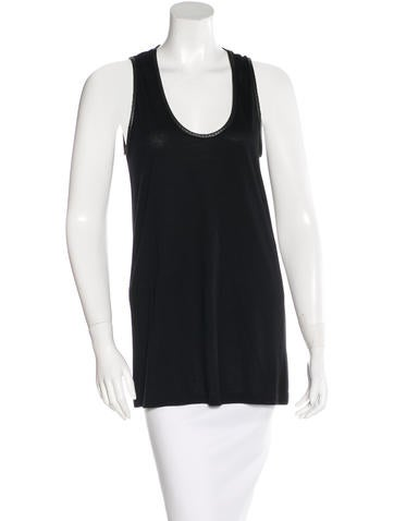 Givenchy Sleeveless Leather-Accent Top None