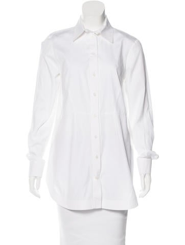 Givenchy Silk-Paneled Button-Up Top None