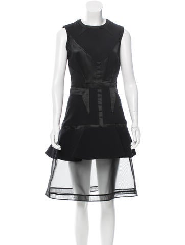Givenchy Sheer-Accented Wool Dress None