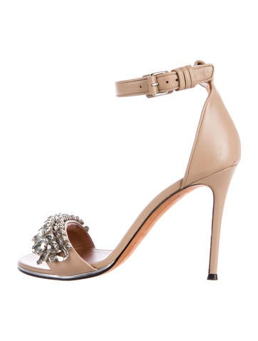 Givenchy Leather Jewel-Embellished Sandals