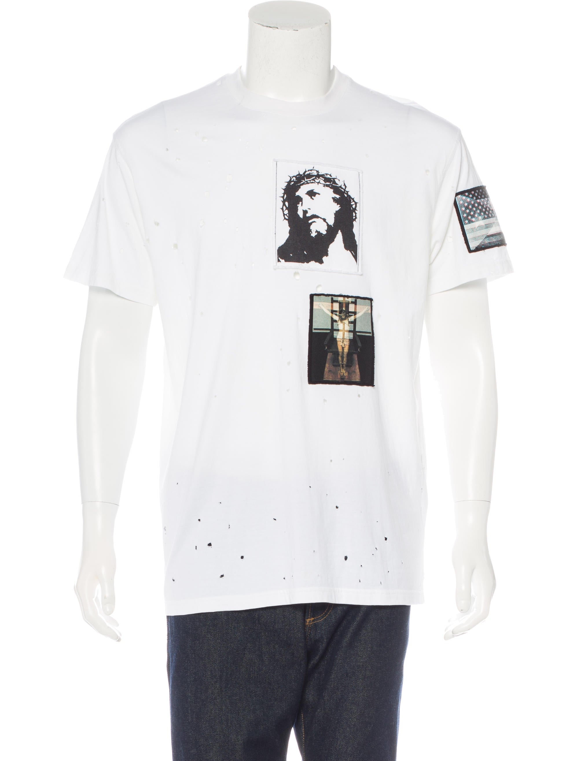 Givenchy 2016 distressed crucifixion t shirt clothing Givenchy t shirt price