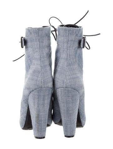 Denim Lace-Up Ankle Boots