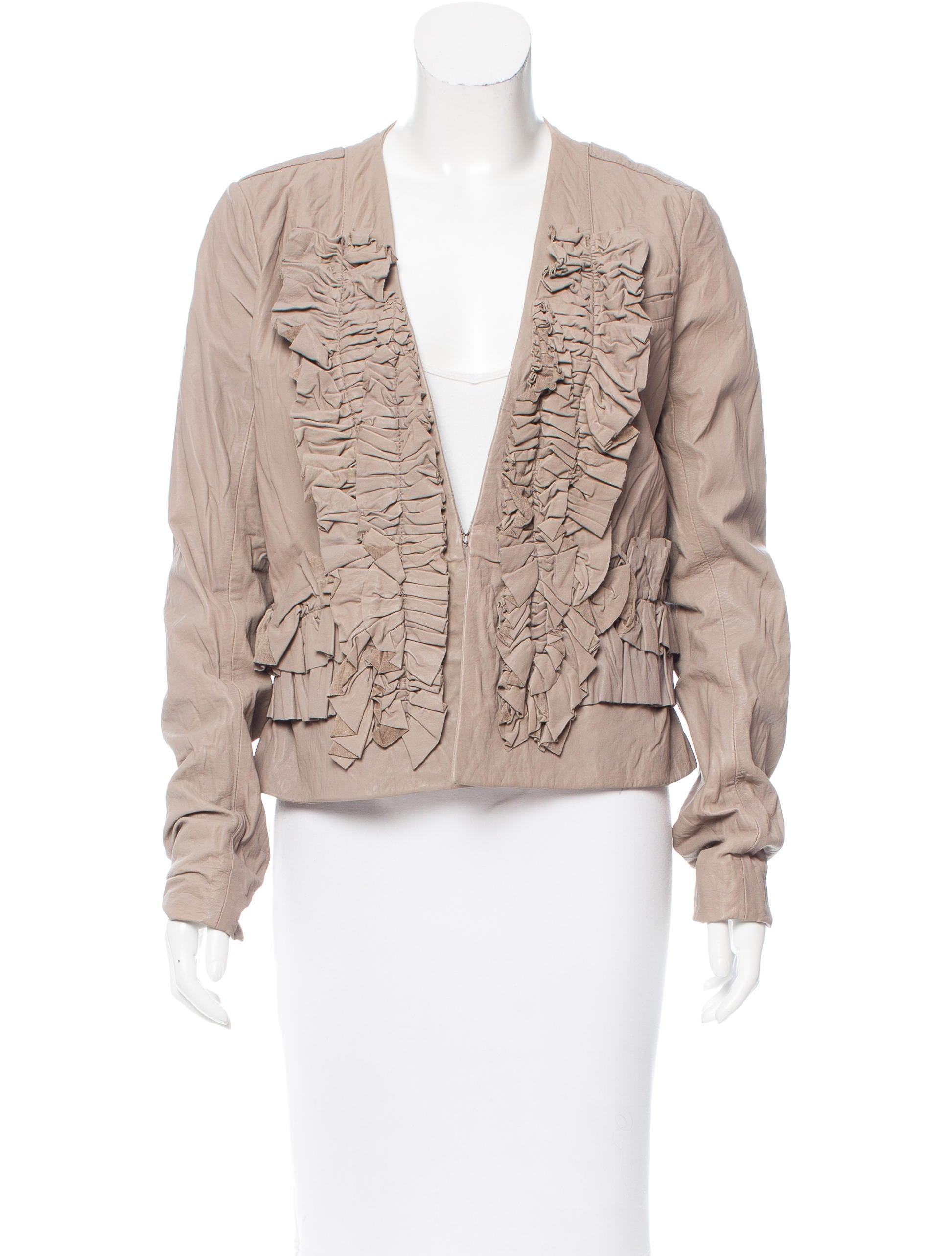 Ruffled leather jacket