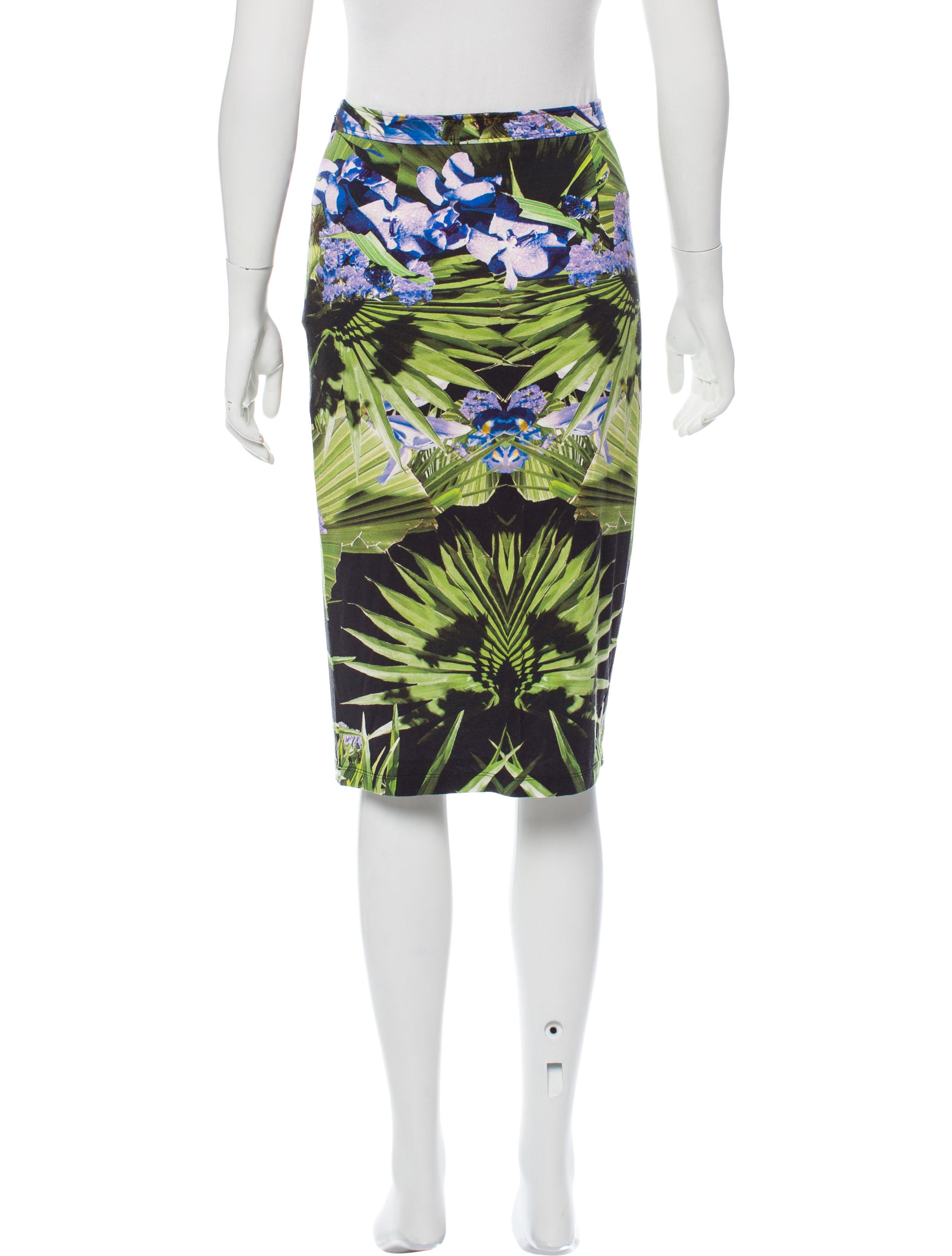 givenchy knee length floral skirt clothing giv37968