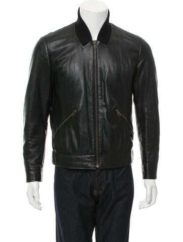 Givenchy Leather Rib Knit-Trimmed Jacket None