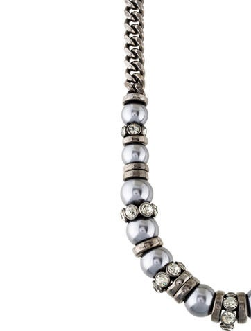 Faux Pearl & Crystal Chain Necklace