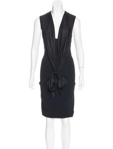 Givenchy Satin-Paneled Knit Dress None