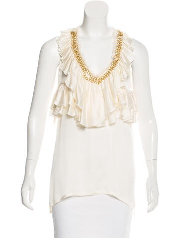 Givenchy Silk Chain-Accented Top None