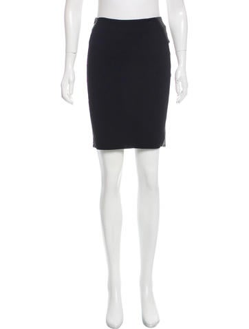 Givenchy Leather-Trimmed Pencil Skirt None