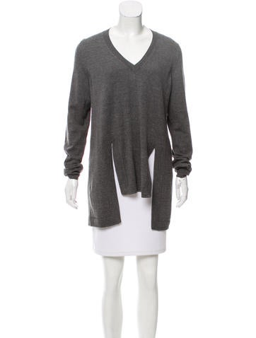 Givenchy V-neck Rib Knit Sweater None