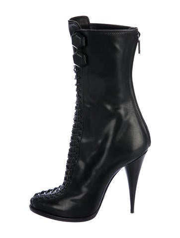 Givenchy Lace-Up Leather Booties None