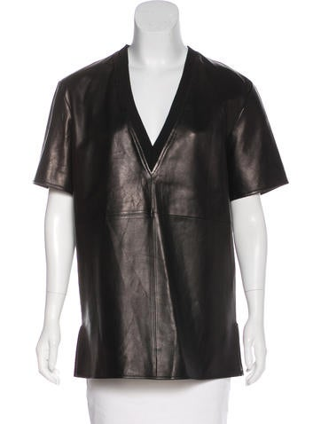 Givenchy Leather V-Neck Top None