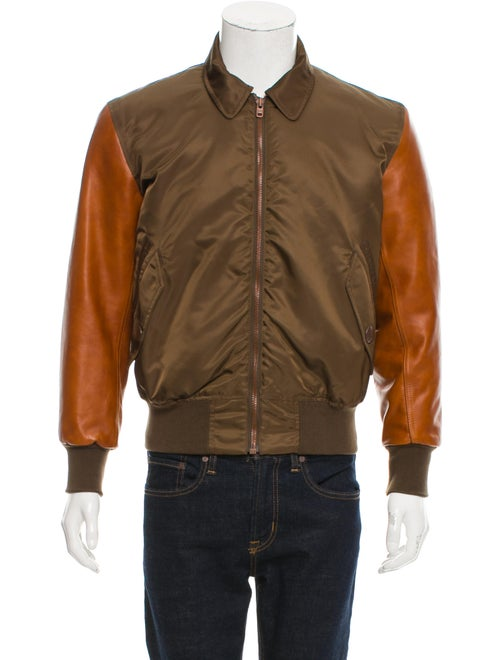 Givenchy Leather-Trimmed Flight Jacket olive - image 1